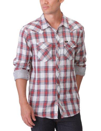 Lee Men's Regular Western - L872Pecm Casual Shirt Red (Textbook Red) 44/46