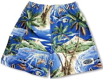 Tropical Fish Island Surf Men's Hawaiian Elastic Waist Flap Pocket