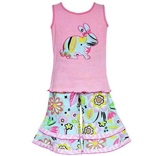 AnnLoren Girls Boutique Easter Bunny Tank and Capri Spring Holiday Outfit