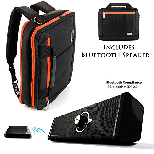 "Executive Travel Carrying Bag, Messenger Bag & Backpack For 11 To 13.9"" Laptop Notebook Ultrabook Convertible Computer + Bluetooth Speaker"