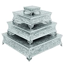 Square 4-Piece Set Wedding Cake Stands