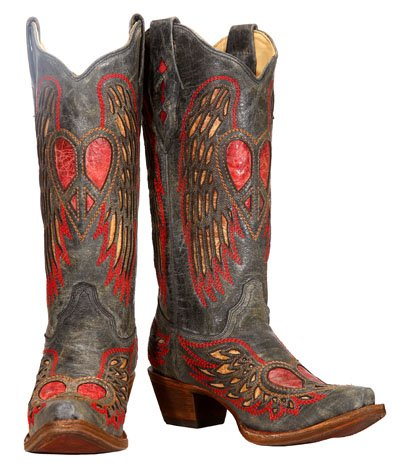 Corral Boots Women's Antique Saddle Angle Wing Heart Black Leather Cowgirl Boots 6.5 M