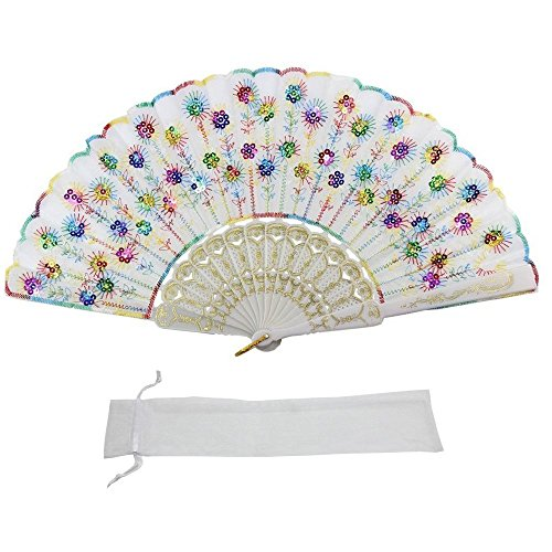 Newstarfactory White Colorful Sequins Embroidering Peacock Feathers Design Plastic Folding Hand Held Fan