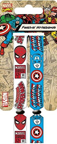 Marvel Retro Spiderman e Capitan America Doppio Festival Wristband Set