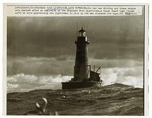 Rock Lighthouse, Lake Superior, Dark Clouds, 1961: Prints: Photographs