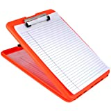 Saunders SlimMate Plastic Storage Clipboard, Letter Size (8.5-Inch x 12-Inch), Bright Orange (00579)