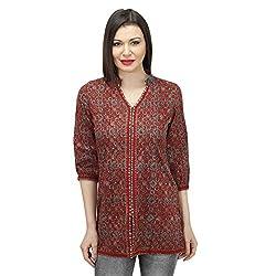 Red Cotton Ajrak Block Printed Tunic (X-Large)