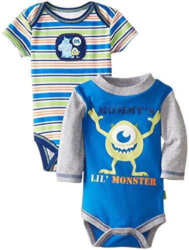 Disney Baby Baby-Boys Newborn Monster Inc. 2 Pack Bodysuit, Navy, 6-9 Months front-607854