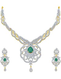 Sukkhi Modern Emerald Studded Gold And Rhodium Plated CZ Necklace Set For Women