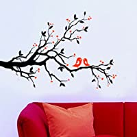 WallStickersUSA Contemporary Wall Sticker Decal, Tree Branches, Leaves, Lovebirds, and Hearts, X-Large by WallStickersUSA