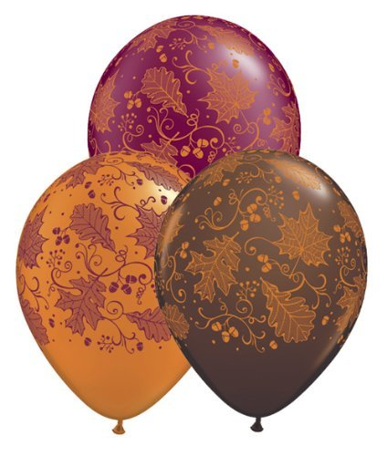 "Single Source Party Supplies - 11"" Fall Leaves Latex Balloons Bag of 10"