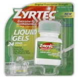 Zyrtec Allergy, Original Prescription Strength, 10 mg, Liquid Gels, 40 Ct.