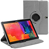 Samsung Galaxy Tab S 10.5 Grey PU Leather Smart Case with 360 Degree Rotating Swivel Action and Free Screen Protector/Stylus Touch Pen