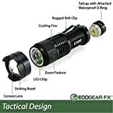 EcoGear FX LED Flashlight (E300): Professional LED Flashlight for Camping, Security, Tactical and General Use - Offers a Zoom Function, 3 Light Modes (Battery Not Included)