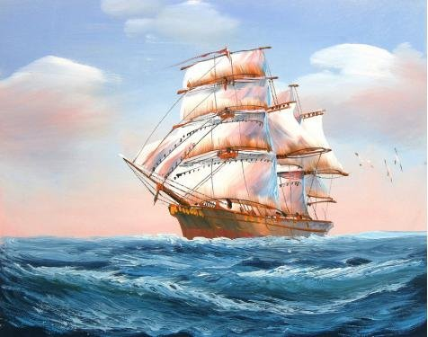 Oil Painting 'a Sailing Ship With Sea Gulls On The Blue Ocean' Printing On Perfect Effect Canvas , 24x30 Inch / 61x77 Cm ,the Best Bedroom Gallery Art And Home Decoration And Gifts Is This High Quality Art Decorative Prints On Canvas