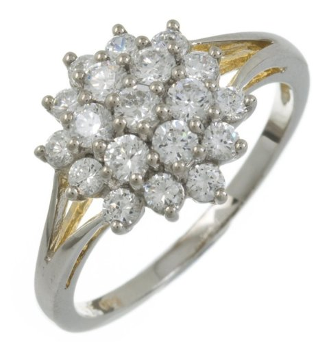 Silver Cubic Zirconia Set Cluster Ring P