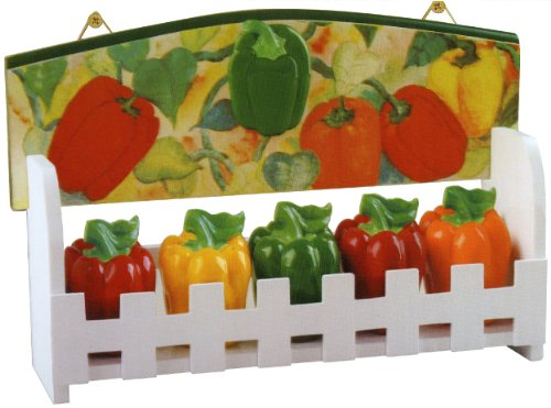 KKM Bell Pepper Ceramic Kitchen Spice Jar Set Decorative Wood Wall Standing Rack 3112 - 5 Piece Set