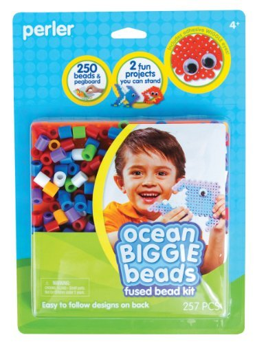 Create Fused Bead Fish And Crabs With Wiggle Eyes - Perler Fused Bead Kit, Ocean Biggie Beads