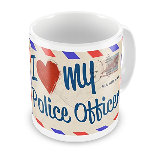 Coffee Mug I Love My Police Officer, Vintage Letter - Neonblond