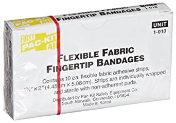 "Pac-Kit 1-010 Fabric Adhesive Light Woven Flexible Fingertip Bandage, 2"" Length x 1-3/4"" Width (Box of 10)"