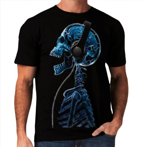Wellcoda | Skeleton Dj Headphones Music Skull Style Mens Funny T-Shirt New Tee S-3Xl Black S