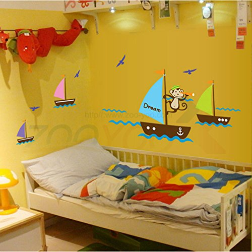 BidynTMmonkey-seek-dream-boating-in-the-sea-wall-decal-zooyoo7043-decorative-adesivo-de-parede-removable-pvc-wall-sticker-40