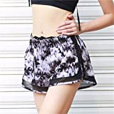 Generic Outdoor Sport Women Shorts Fitness Yoga Shorts For Workout Sport Running-White&Black-parent
