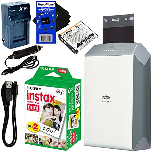 Fujifilm-instax-SHARE-Smartphone-Printer-SP-2-Silver-International-Version-No-Warranty-Instax-Mini-Instant-Film-20-sheets-Rchrgbl-Battery-ACDC-Charger-HeroFiber-Gentle-Cleaning-Cloth