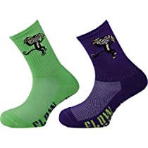 Flow Society Authentic Lacrosse Gear Socks Monkey Banana One Purple, One Neon Green pair (This is a pack of 2 pairs of socks.) Size Medium Fits Shoe 4-8.5