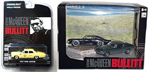 Steve Mcqueen Bullitt Crash Scene Car Set Hollywood Movie Series 3 cars - Greenlight 1968 Dodge Charger & 1968 Ford Mustang Gt + 1967 Ford Custom