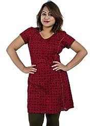 Simply Sapnaa's Women's Cotton Printed Half Sleeve Kurti (Maroon)