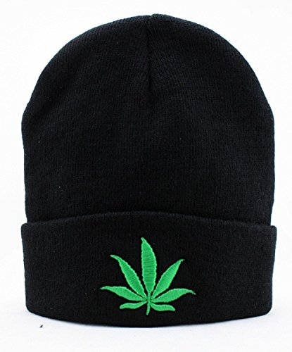 YCMI-Winter-Warm-Knit-Fashion-Black-Marijuana-Weed-Beanie-Hat-for-Men-and-Women-Winter-Cap-Skully-Leaf-Beanie