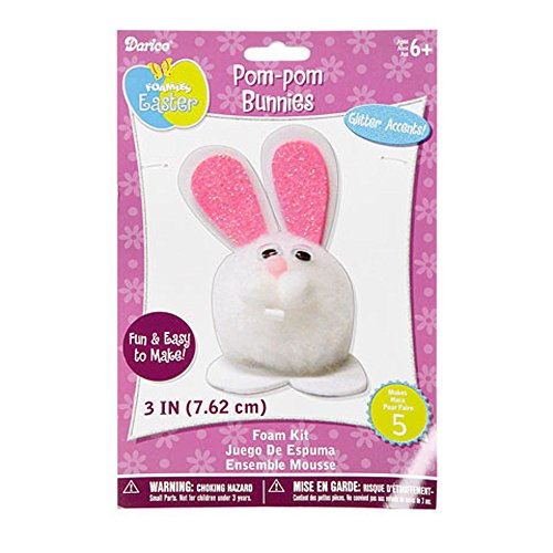 Foamies Easter Crafts for Kids - White Pom Pom Easter Bunny Craft Kit (Pack of 3)