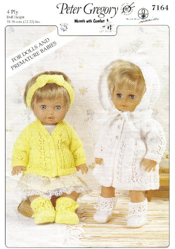 "Peter Gregory Dolls Clothes and Premature Babies Outfits Knitting Pattern: Cardigan Set, Matinee Set: Cardigan, Bootees, Hairband, Coat, Bonnet (To fit doll 12""-14"" 15""-18"" 19""-22"" - 31cm-56cm)"