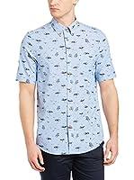 Ben Sherman Camisa Hombre Ss Beach Print (Azul Claro)