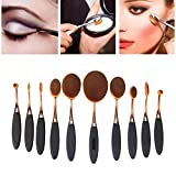 Yoseng-10-Pcs-New-fashionable-Super-Soft-Oval-Toothbrush-Makeup-Brush-Set-Foundation-Brushes-Contour-Powder-Blush-Conceler-Brush-Makeup-Cosmetic-Tool-Set-Black-Rose-Golden