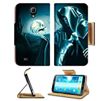 Grim Reaper Halloween Skull Death Scary Samsung Galaxy Mega 6.3 I9200 Flip Case Stand Magnetic Cover Open Ports Customized Made to Order Support Ready Premium Deluxe Pu Leather 7 1/16 Inch (171mm) X 3 15/16 Inch (95mm) X 9/16 Inch (14mm) msd Mega cover Pr
