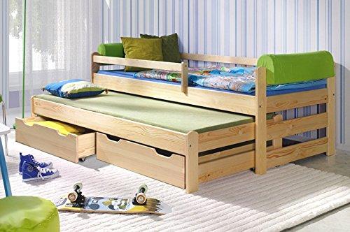 """Kinderbett Modell """"Doblo BIS"""" Massivholz mit zwei Schubladen und 2 KALTSCHAUMMATRATZEN, Schoner für Bettgeländer GRATIS ! (kiefer) kaufen"""