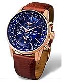 Vostok-Europe - Gaz Limo World Timer Alarm Rosegold Brown Leather Watch - YM26/5609256