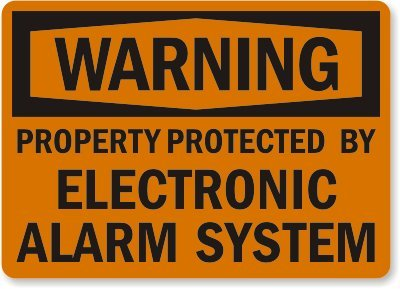 """Warning: Property Protected By Electronic Alarm System Sign, 10"""" X 7"""""""