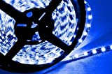 Hitlights Blue Flexible Ribbon LED Strip Light, 300 LEDs, 5 Meters (16.4 Feet) Spool, 12VDC Input (Adapter not included)