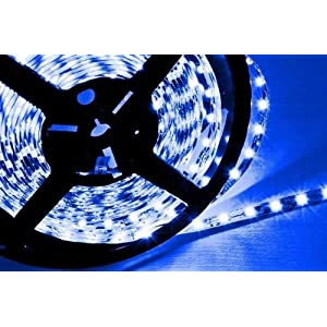 Hitlights LED Blue Lighting Strip, 300 LEDs, 3528 Type SMD, 5 Meter or 16.4 Ft, 12 Volt, 24 Watt