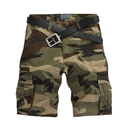 Cekaso Men's Camo Shorts Casual Solid & Camouflage Flat Front Cargo Shorts, Dark Green Camo, USsize34=Tagsize36 Camouflage Shorts