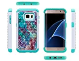 Galaxy S7 Edge Case, S7 Edge Case, ArtMine Mandala Floral Dual Layers (Studded Rhinestone Hard Shell & Soft Silicone TPU) High Impact Shockproof Durable Cover Case for Samsung Galaxy S7 Edge - Teal