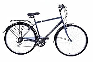 "Professional Regent 700c Wheel Upright Position Mens 18 Speed Hybrid City Bike Grey 23"" Frame With Mudguards & Carrier"