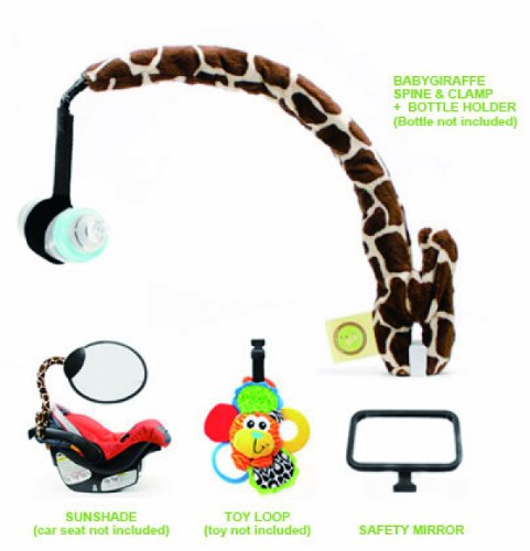 Baby Giraffe Spine and Clamp, Bottle Holder, Toy Loop, Safety Mirror, and Sun Shade - 1