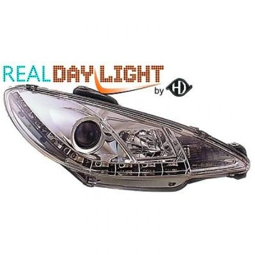 phares design, set 206, 98 chrome avec vrais feux diurnes H1+H1 pour réglage électrique homologation R87