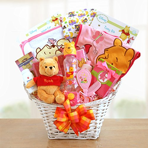 Winnie The Pooh Baby Girl Basket front-343394