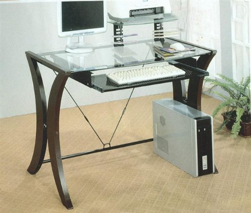 Buy Low Price Comfortable Cappuccino with Glass Computer Desk by Coaster (B001EJXBAW)