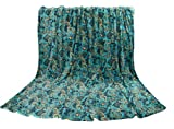 Euphoria Super Soft Fleece Prints Throw Blanket for Sofa Couch Lounge Bed Bedding Teal Paisley Design Baroque Style King Size 220 x 200cm